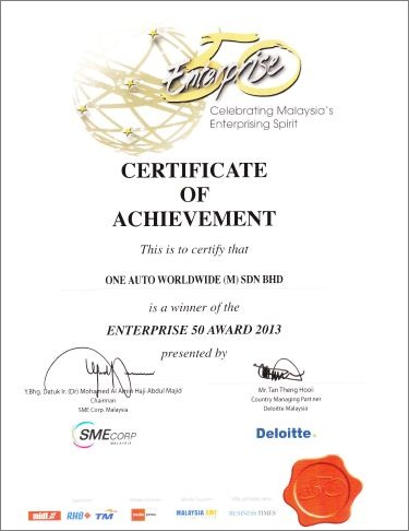 Enterprise 50 certificate of excellence